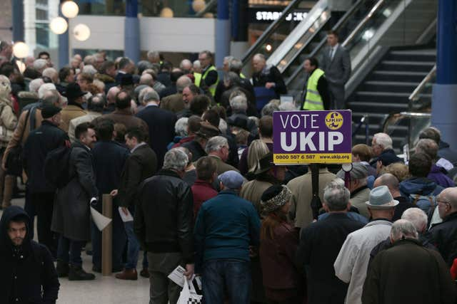 Members of the UKIP party arrive at the ICC in Birmingham (Aaron Chown/PA)