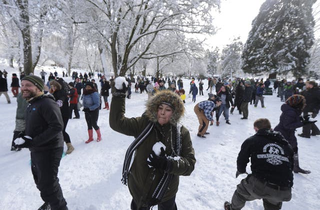 Several hundred people participated in the snowball fight