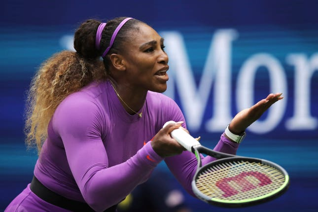 Serena Williams shows her frustration after losing a point