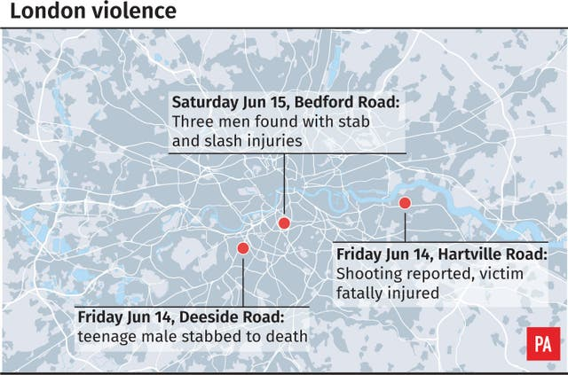 Locates violent incidents in London