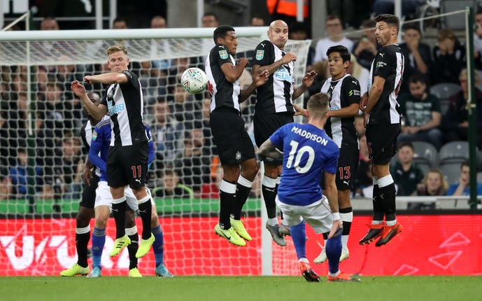 James Maddison scored a free-kick in Leicester's Carabao Cup second-round win at Newcastle last week.
