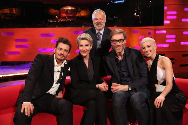 Orlando Bloom, Tamsin Greig, Stephen Merchant, and SuRie during filming for the Graham Norton Show.