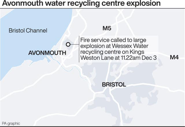 Graphic locates large explosion at Wessex water recycling centre