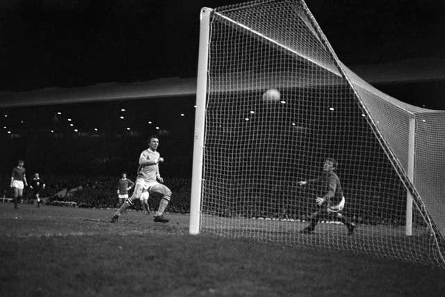 Mike Summerbee scores the winner for Manchester City at Old Trafford