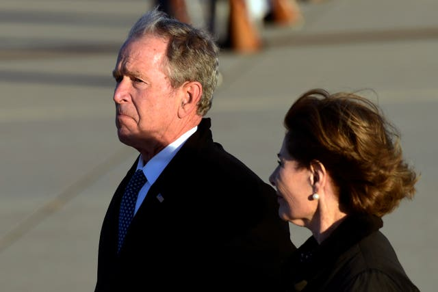 Former President George W Bush and wife Laura Bush
