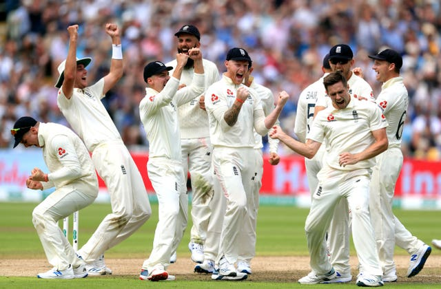 England bowler Chris Woakes, right, celebrates taking the wicket of Australia's Matthew Wade on the opening day of the first Ashes Test at Edgbaston. The hosts suffered at the hands of Steve Smith's sensational batting for much of the series but, despite being unable to reclaim the urn, managed to salvage a 2-2 draw following a 135-run win at the Oval