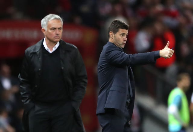Jose Mourinho, left, has been speaking about his predecessor Mauricio Pochettino, right