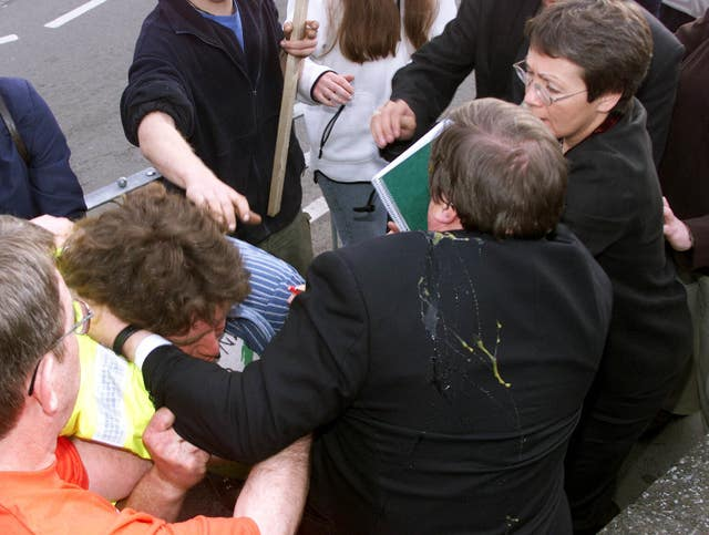 John Prescott after being egged (David Kendall/PA Archive)