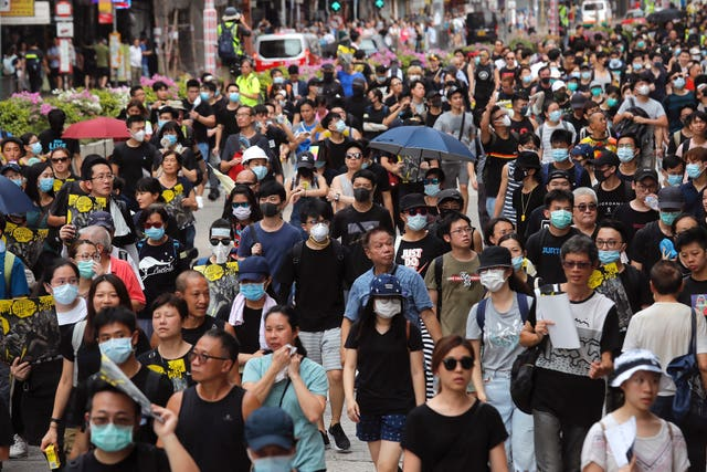 Protest march in Shum Shui Po, Hong Kong