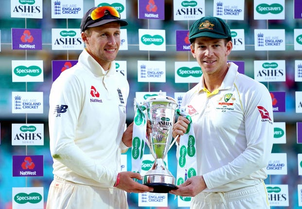 Joe Root (left) and Tim Paine
