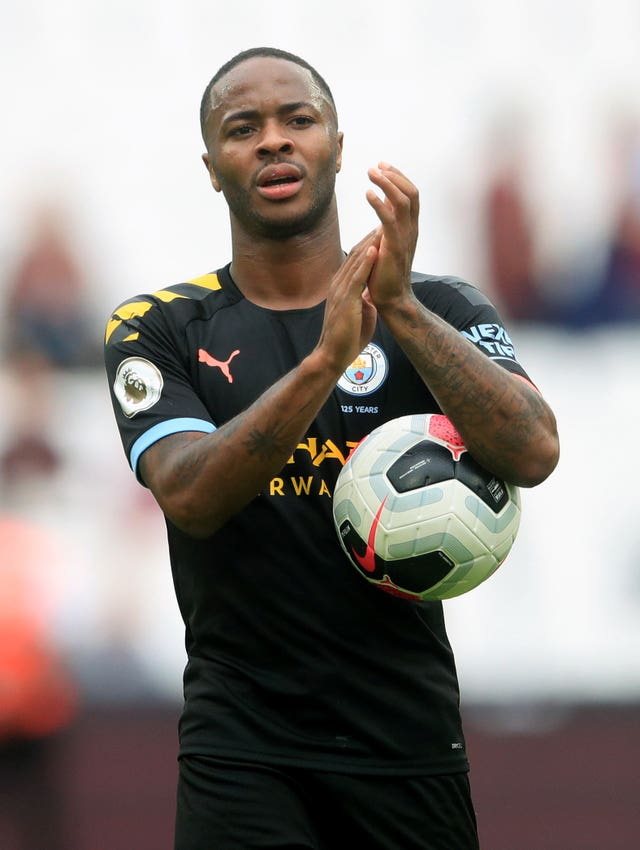 Raheem Sterling celebrates his hat-trick at West Ham