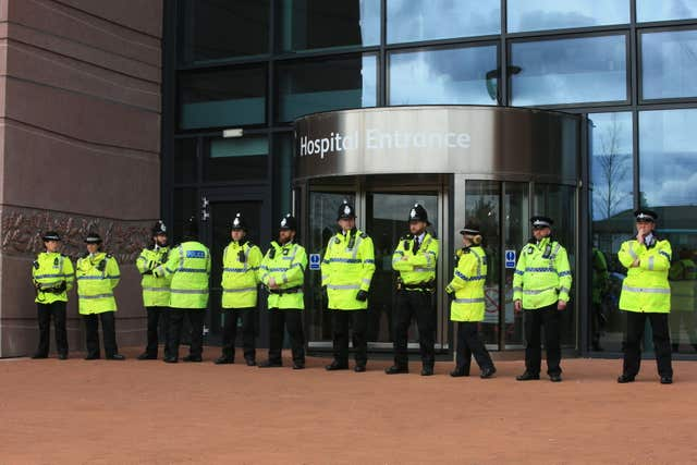 Police block the entrance to Alder Hey Children's Hospital (Peter Byrne/PA)