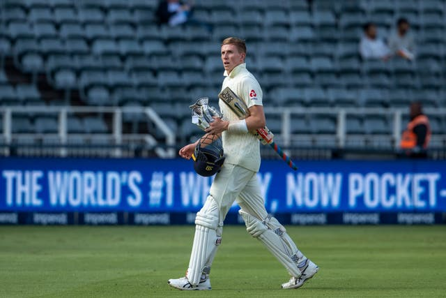 England batsman Zak Crawley leaves the field after being dismissed
