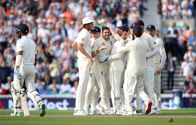 England celebrate against India