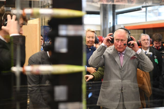Charles during a visit to the Whittle Laboratory