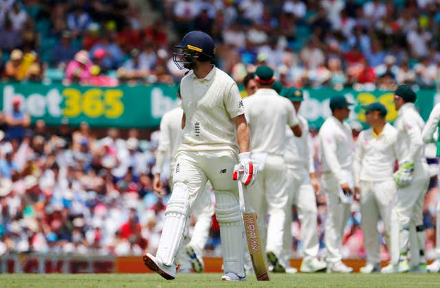 England's Mark Stoneman walks off after being dismissed during day one of the Ashes Test match at Sydney Cricket Ground (Jason O'Brien/PA)