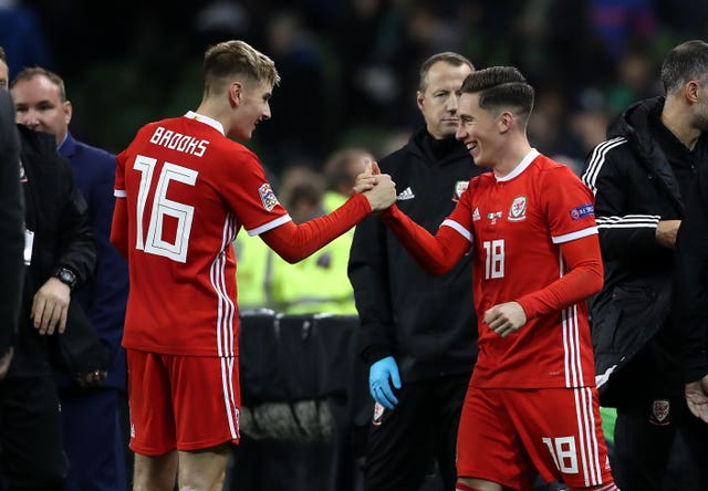 Harry Wilson, right, celebrates after the game