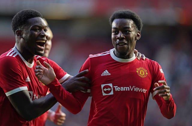 Anthony Elanga (right) celebrates scoring for Manchester United