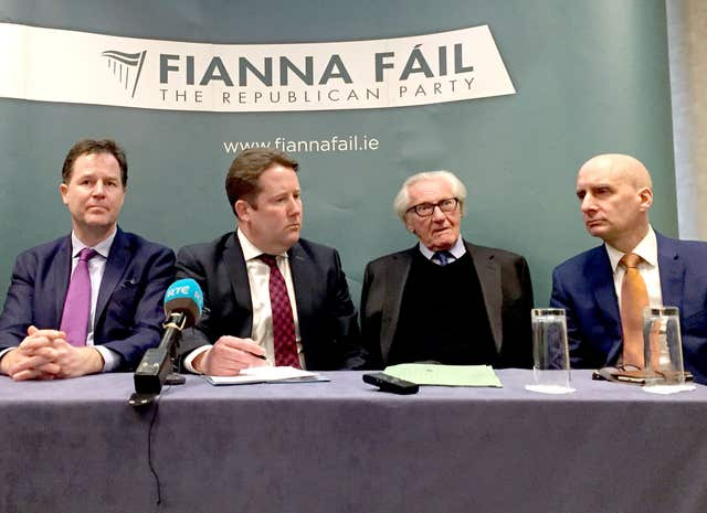 Sir Nick Clegg with  Fianna Fail's Darragh O'Brien, and fellow Remainers Lord Heseltine and Lord Adonis, left to right, discuss Brexit issues (David Young/PA)