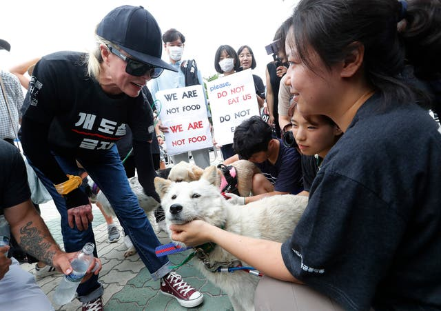 Kim Basinger, left, with a pet dog during a rally to oppose eating dog meat, in front of the National Assembly in Seoul