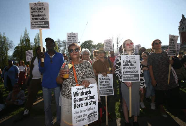 Stand up to Racism organised the event in solidarity with the Windrush generation and their families (Yui Mok/PA)