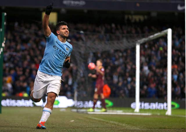 Sergio Aguero celebrates an FA Cup hat-trick against Watford in 2014