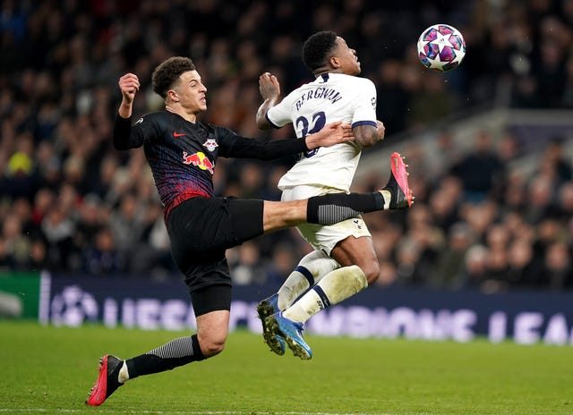 Leipzig hold the upper hand in their Champions League last-16 tie against Tottenham (John Walton/PA)