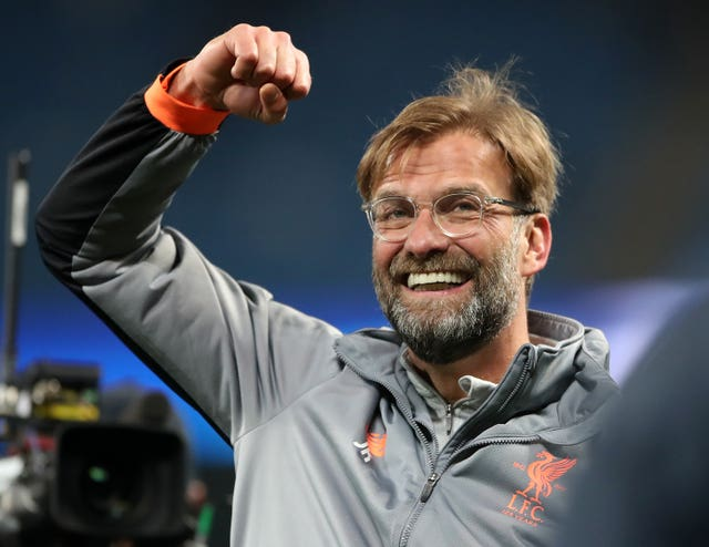 Liverpool boss Jurgen Klopp celebrates Liverpool's second-leg win at the Etihad Stadium.