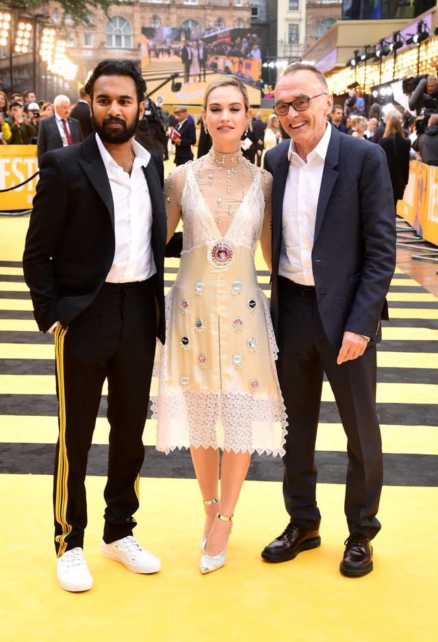 Danny Boyle with Yesterday stars Himesh Patel and Lily James