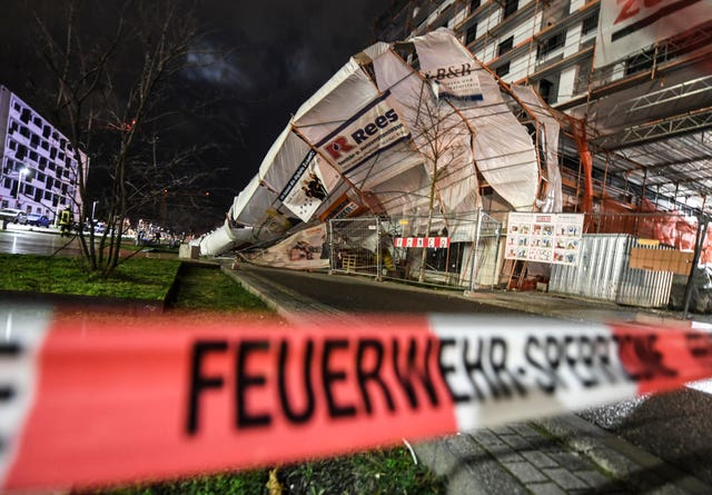 Collapsed scaffolding after heavy wind in Freiburg, Germany