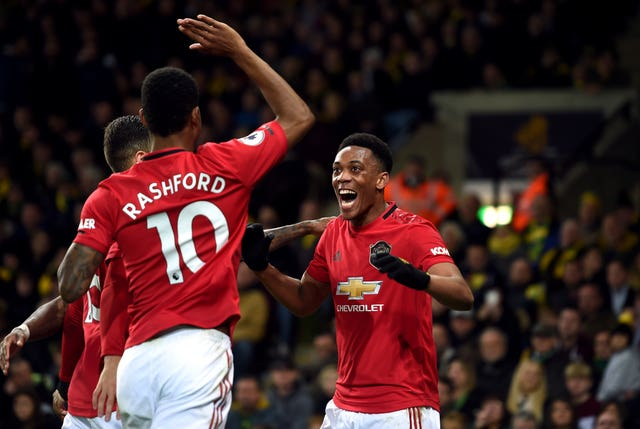 Manchester United's Anthony Martial (right)