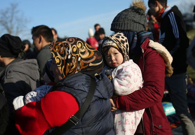 Migrants gather in a field at the Turkish-Greek border