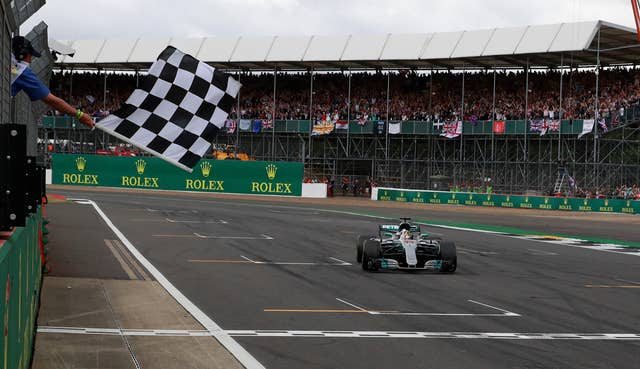 Mercedes Lewis Hamilton crosses the line to win the 2017 British Grand Prix