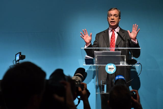 Brexit Party leader Nigel Farage during the party's policy launch in Westminster, London