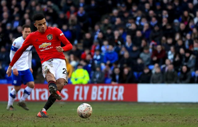 Manchester United's Mason Greenwood slotted home his 10th goal of the season from the penalty spot