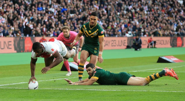 Jermaine McGillvary, left, has scored 12 tries in 13 appearances for England