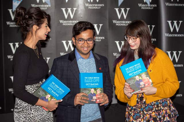 Great British Bake Off 2018 finalists (left to right) Ruby Bhogal, Rahul Mandal and Kim-Joy Hewlett
