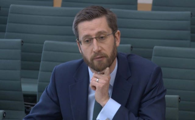 Simon Case, the Cabinet Secretary and the UK's most senior civil servant, giving evidence to the Commons Public Administration and Constitutional Affairs Committee