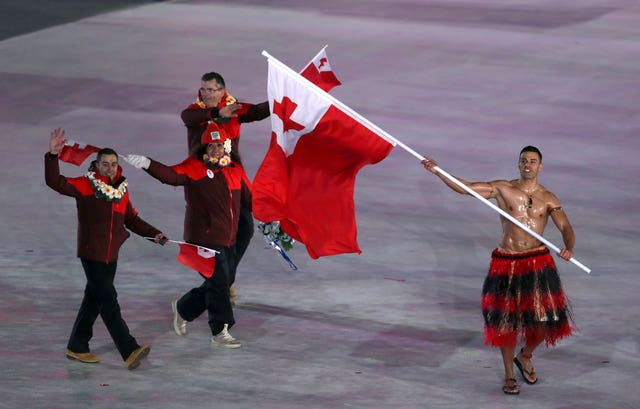 Tonga flag-bearer Pita Taufatofua during the opening ceremony of the Pyeongchang 2018 Winter Olympic Games