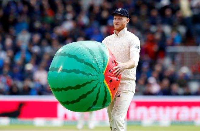A beach ball caused a delay for a second successive day