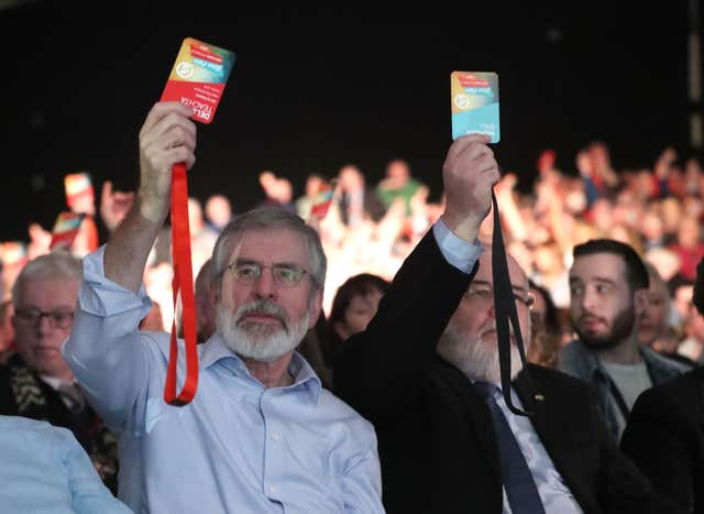 Gerry Adams votes for Michelle O'Neill to become the Sinn Fein vice president (Niall Carson/PA)