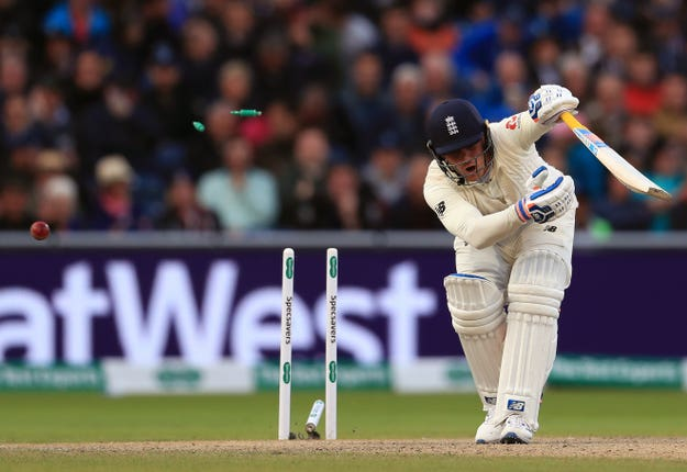 England's Jason Roy is bowled out by Australia's Josh Hazlewood