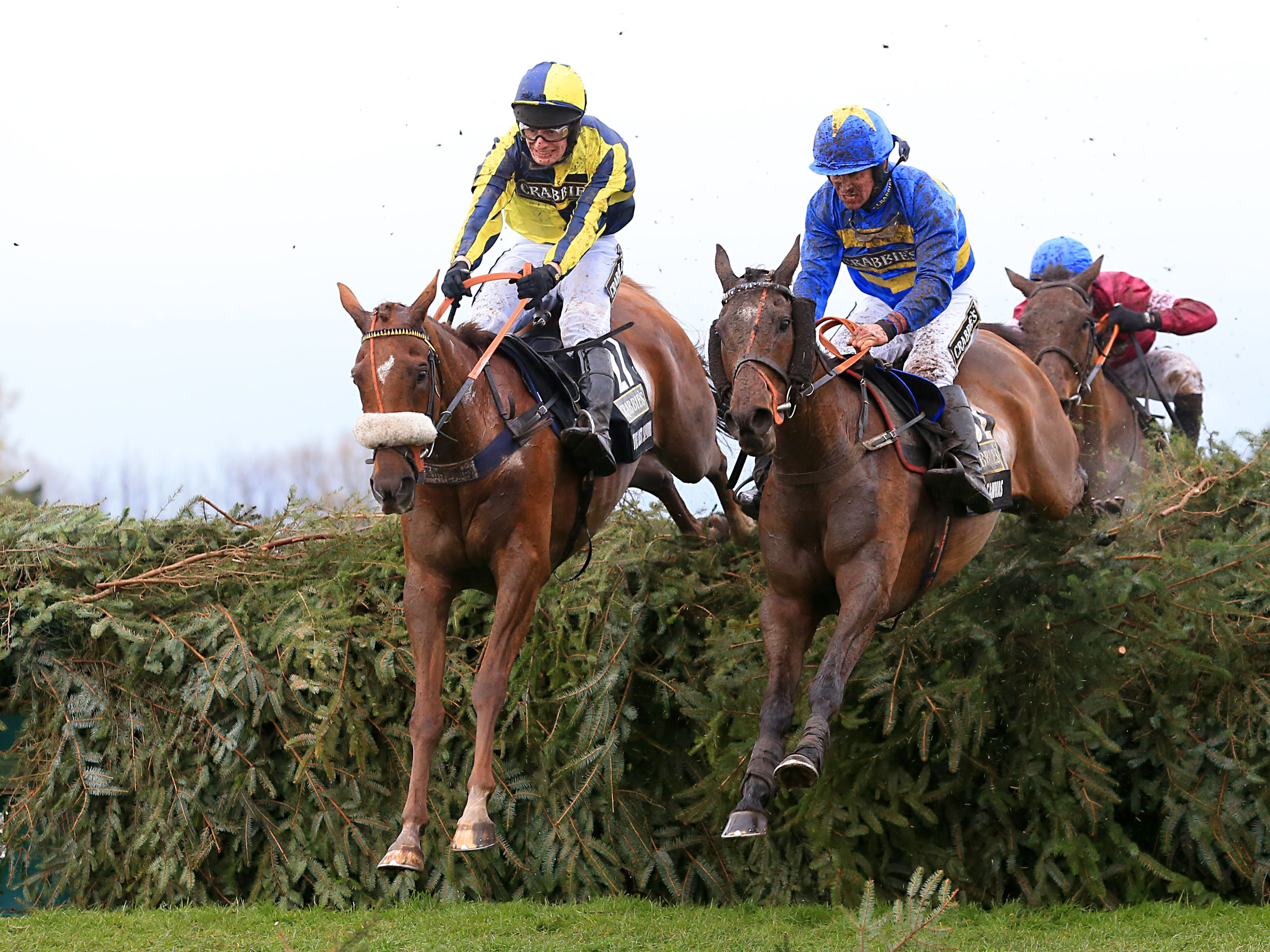 The Last Samuri (left) and David Bass, on their way to finishing second in the 2016 Grand National (Mike Egerton/PA)