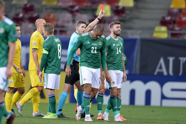 Northern Ireland had Josh Magennis sent off