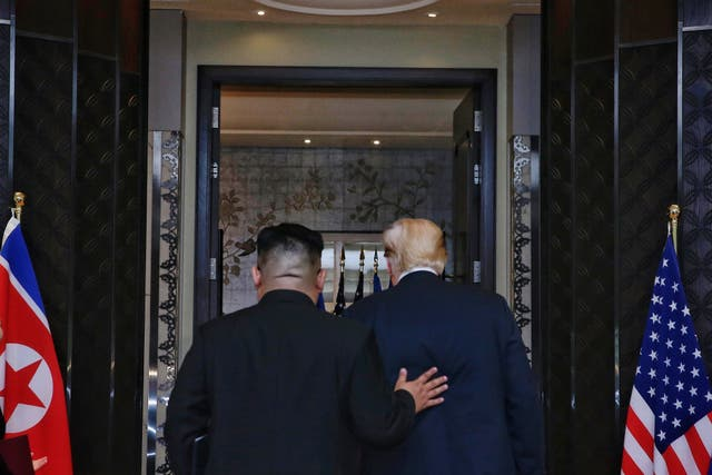 President Donald Trump and leader of North Korea, Kim Jong-un, at Capella, Singapore (Kevin Lim/The Straits Times/PA)