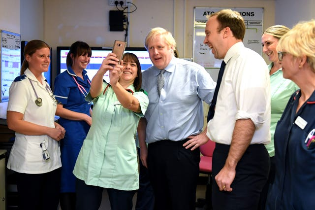 Boris Johnson toured the hospital with Health Secretary Matt Hancock