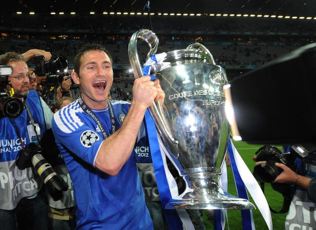 Frank Lampard celebrates with the Champions League trophy
