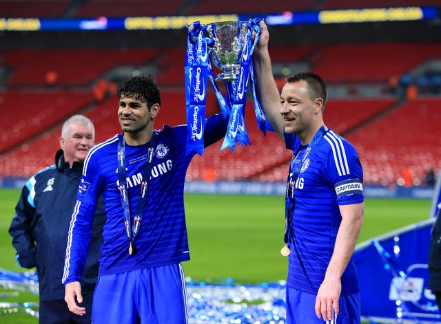 Chelsea's Diego Costa and John Terry with the trophy