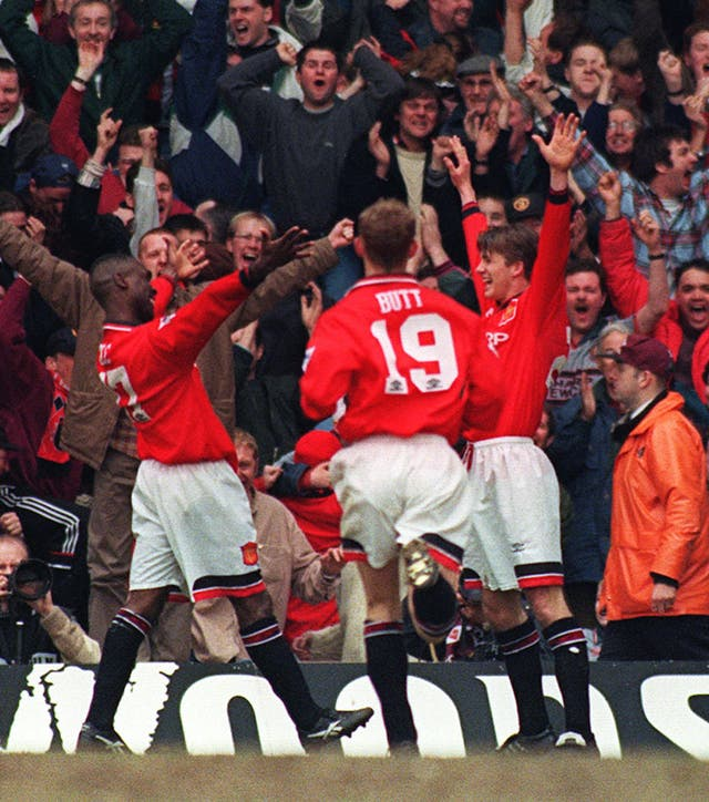 United also prevailed in a 1996 semi-final at Villa Park, winning 2-1 with goals from David beckham (right) and Andy Cole (left)