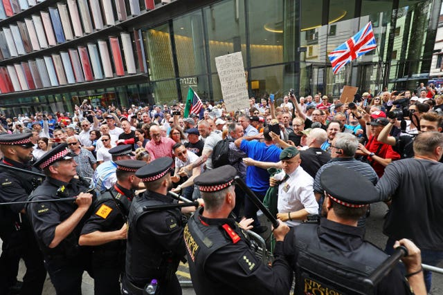 Robinson's supporters gathered outside the Old Bailey during the two-day court hearing (Aaron Chown/PA)